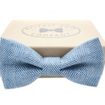 Irish Linen Bow Tie in Blue Herringbone - Pre-Tied, Boy's sizes & Cufflinks available