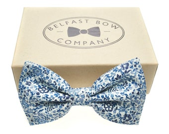 5b5eb0144428 Liberty Bow Tie in Navy and Blue Floral - Self-Tie, Pre-Tied, Boy's Sizes,  Pocket Squares & Cufflinks available