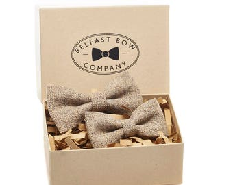 Handmade Bow Tie Father and Son Tweed Gift Set