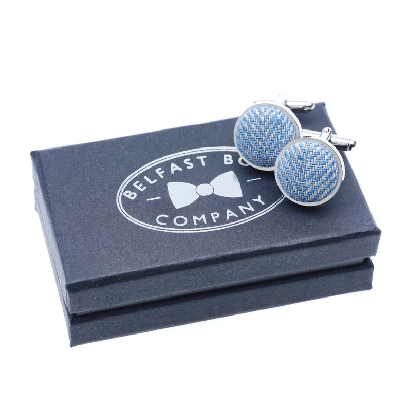 Irish Linen Cufflinks in Blue Herringbone image 0