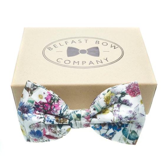 Blue Ditsy Floral Print Reversible Wedding Mens Accessory Self Tie Groom Handmade in UK Liberty of London Bow Tie Groomsmen
