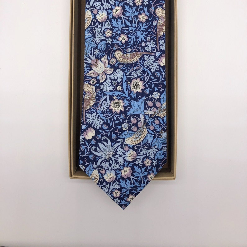 Liberty Tie in Navy Blue Strawberry Thief image 0