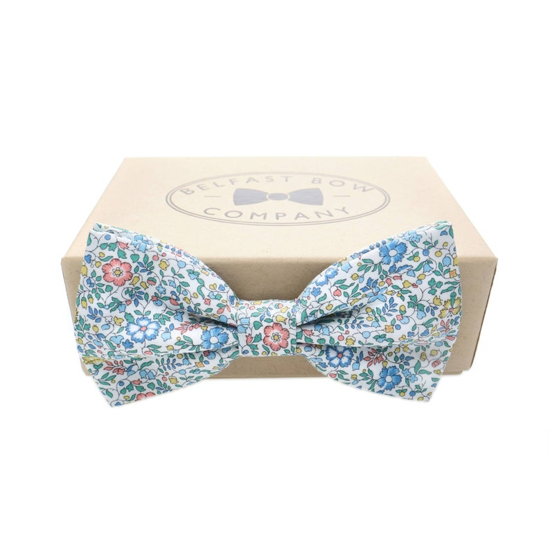 Liberty Bow Tie in Blue Floral Ditsy Print  Pre-Tied image 0