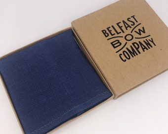 Pocket Square in Irish Linen Navy Blue - Matching Cufflinks available