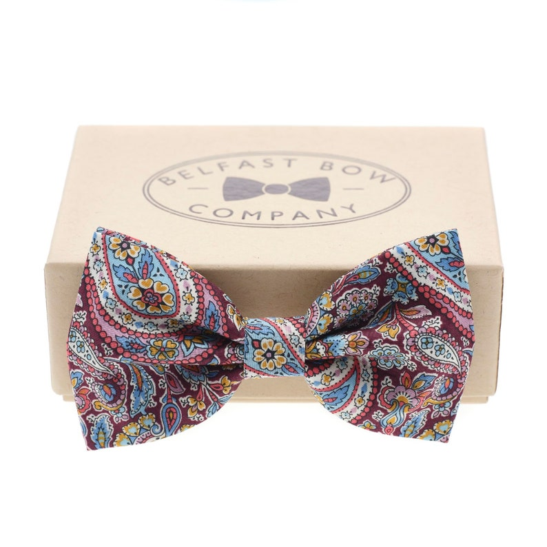 Liberty Bow Tie in Burgundy Paisley  Self-Tie Pre-Tied image 0