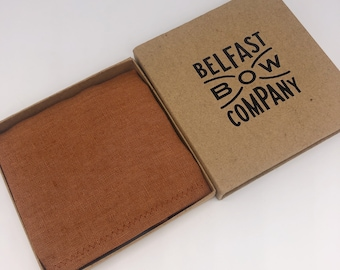 Pocket Square in Irish Linen Burnt Orange - Matching Cufflinks available