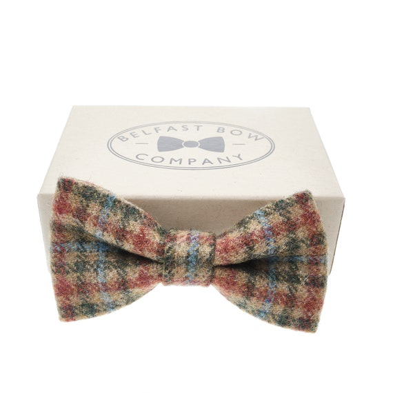 Mens Boys Matching Check Tweed Dickie Bow Tie /& Pocket Square Set in Tan Brown
