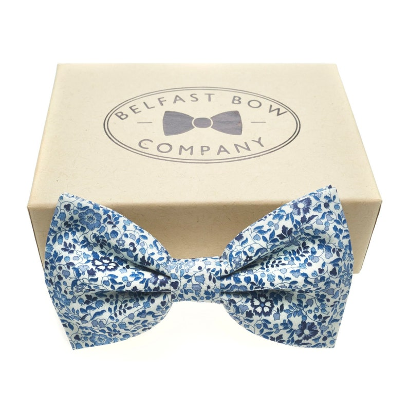 Liberty Bow Tie in Navy and Blue Floral  Self-Tie Pre-Tied image 0