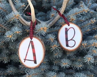 Wood Slice Christmas Ornament, Wooden Plaid Monogram Ornament, Handmade Monogram Letter Christmas Ornament, Monogram Christmas Ornament