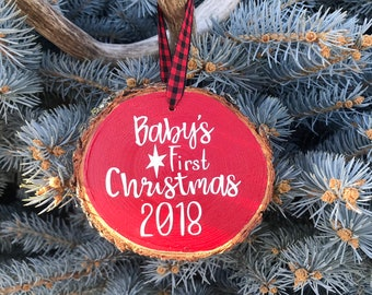 Wood Slice Christmas Ornament, Baby's First Christmas Wood Slice Ornament, Handmade Ponderosa Pine Baby's First Christmas 2018 Ornament