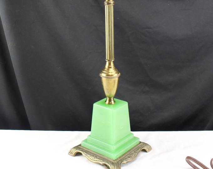 Antique/Vintage Table Lamp 1920s - 30s Art Deco Jadeite Light Home Decor Lighting
