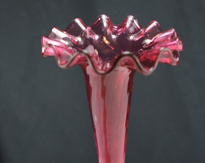 """Antique Bohemian Epergne Arm/Horn Vase Art Glass Cranberry 10"""" Replacement"""