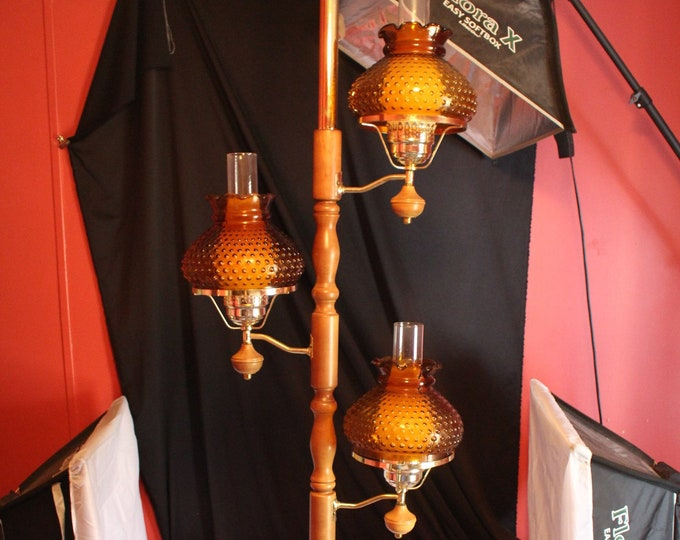 Vintage Tension Pole Lamp 3 Hobnail Amber Student Shades Gold and Wood Pole Home Lighting