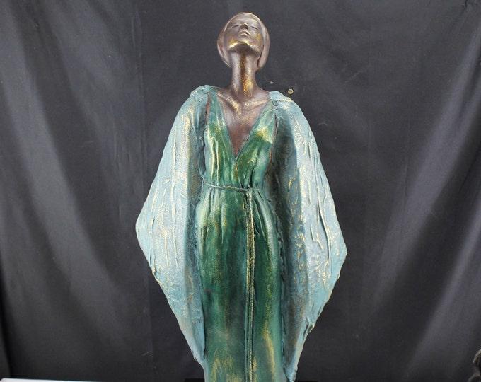 "Art Deco Statue Figurine Asian Woman Green Dress Turquoise Robe 27"" tall Foe Bronze"