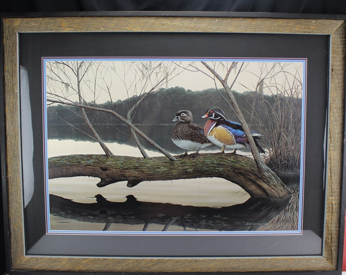 "Vintage Wildlife Print Lithograph ""Willow Woodies"" David Lanier 1995 Duck Art"