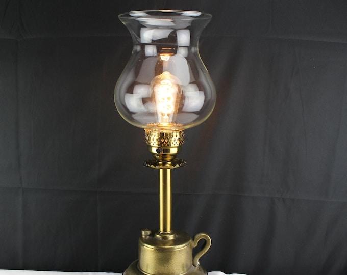 Vintage Brass Table Lamp-Brass Hand Lantern Clear Glass Chimney