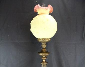 Fenton Art Glass Banquet Table Lamp Burmese Embossed Roses-Home Lighting