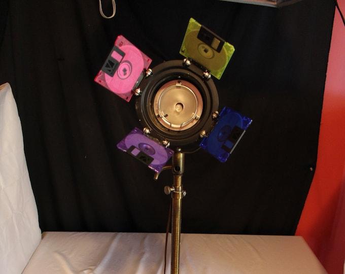 Vintage Brass Theater Studio Nautical Telescoping Pedestal Floor Spotlight/Lamp