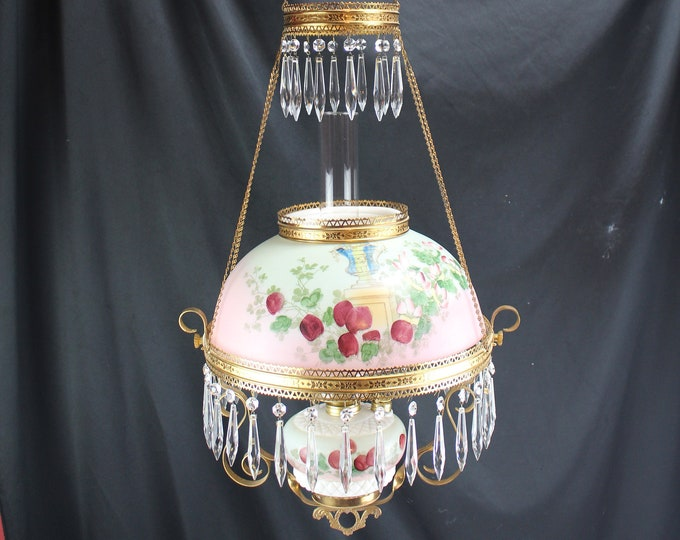 Antique Miller Hanging Parlor Oil Lamp with Milk Glass Student Shade Hand Painted Roses and Urn