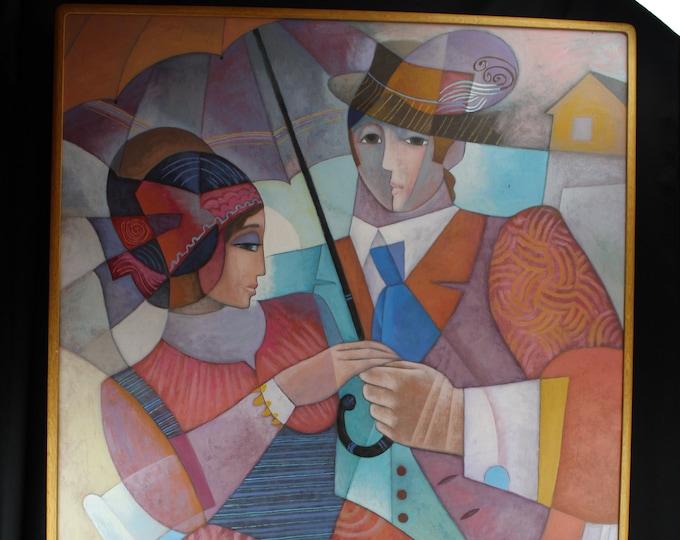 Original Art Oil Painting Enrique Sanchez Promenade Cubist MCM Man and Woman