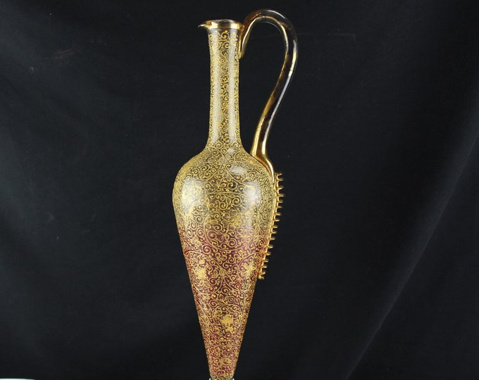Antique Bohemian Wine Ewer Pitcher Rigaree Red to Clear Glass Enameled and Gold Covered Design