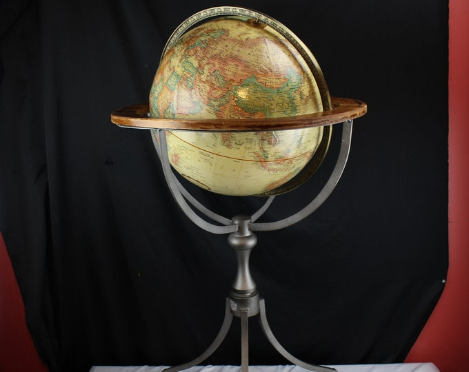 "Vintage Replogle Antique Ocean World Classic 16"" Raised Relief Globe with Wrought Iron Stand"