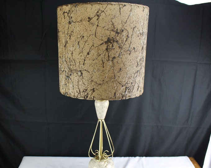 Vintage White and Gold Table Lamp Mid Century Art Deco Ceramic and Wire and Vintage Shade