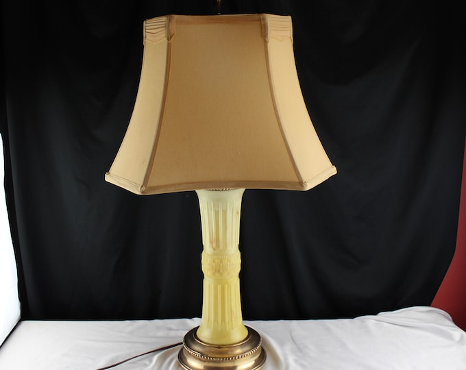 Mid Century Classical Revival Column Table Lamp-Table Lamp Copper and Hard Plastic