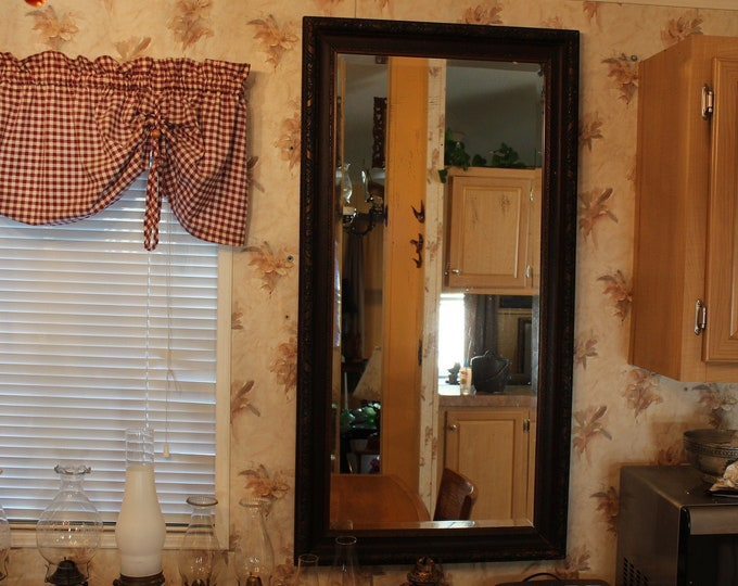 Antique Arts and Crafts Movement Three Color Carved Wood Beveled Edge Wall/Hall Mirror