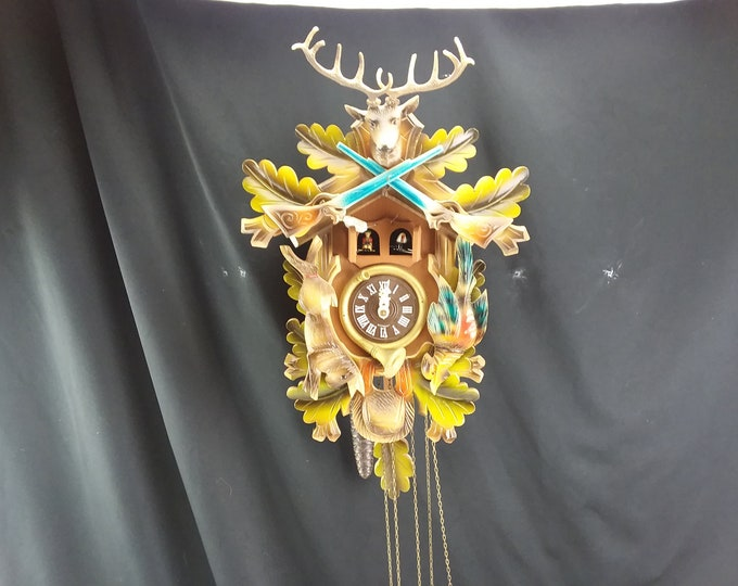 """3 Weight West German Two Door Cuckoo with Music Box """"Blue Danube"""" Wall Clock"""