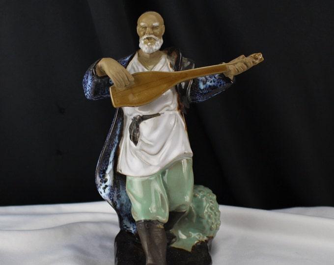 Vintage Mudman Chinese Musician Pottery Miniature Figurines Asian Decor