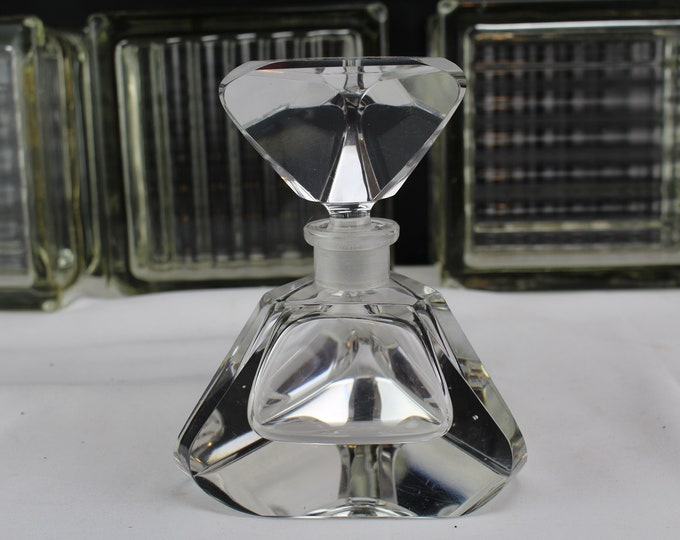 3 Sided Faceted Crystal Glass Perfume Bottle with Matching Stopper