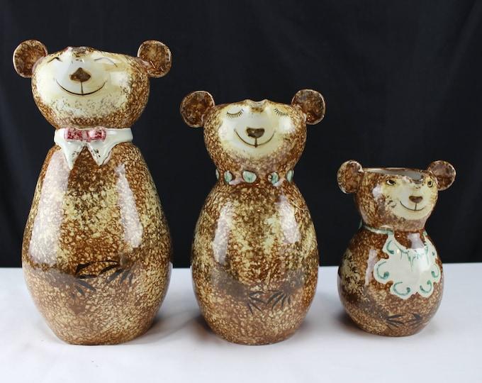 Three Bears Pitchers - Vintage Italian Art Pottery Attr. Raymor Pottery Sponge-applied