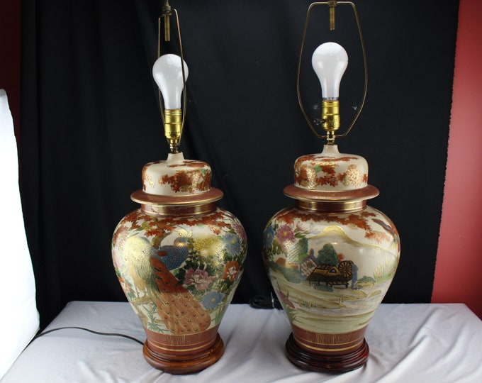 Asian Pair Red and Gold Kutani Porcelain Ginger Jar Table Lamps Large Decorated  Farmhouse & Birds wood Base