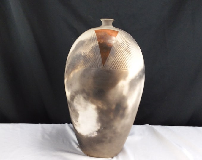 Native American Southwest Pottery Low Fire Incised Vessel Tall Fire Licked Finish