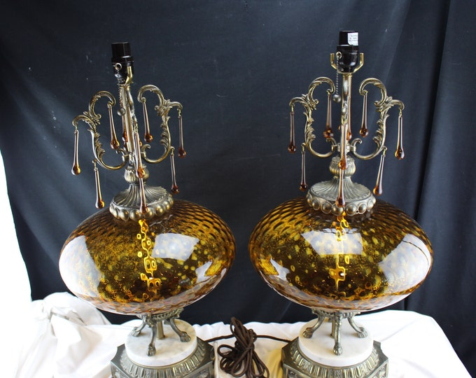 Hollywood Regency Brass Glass And Marble Table Lamps Amber Dimpled Glass Tear Drop Dangles