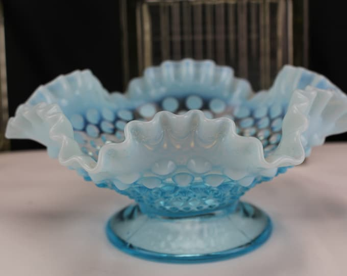 Vintage Fenton Glass Hobnail Blue Opalescent Ruffled Edge Bowl