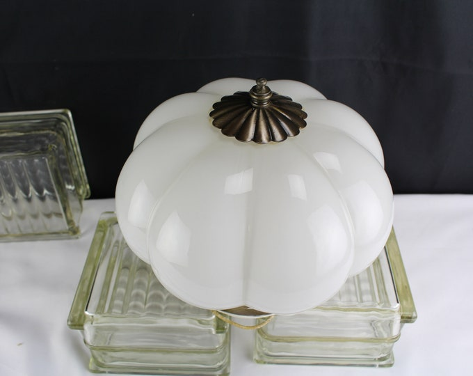 Vintage Ceiling Light Fixture Melon Shaped White Glass Globe Home Lighting