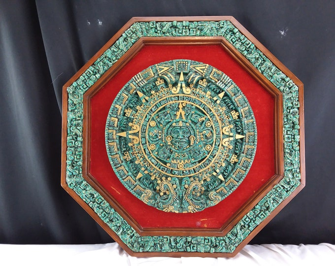Vintage Wooden AZTEC MAYAN CALENDAR, Octagon Art Sculpture, Malachite Wood & Felt
