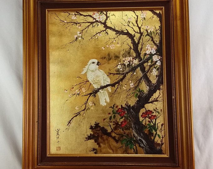 Original Oil Paintings by Yoko Folan California Artist Asian Landscape White Cockatoo