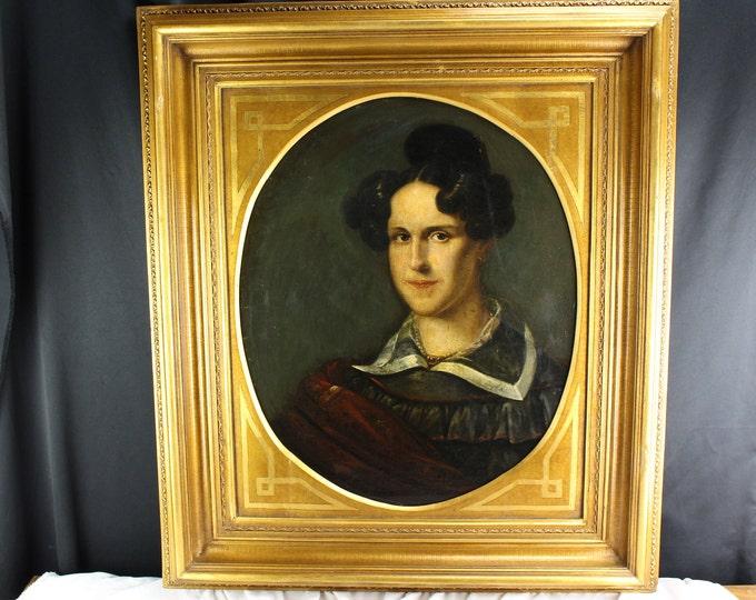 19th Century Antique Oil Painting Portrait Lady American School Provincial Artist Oval Original Frame
