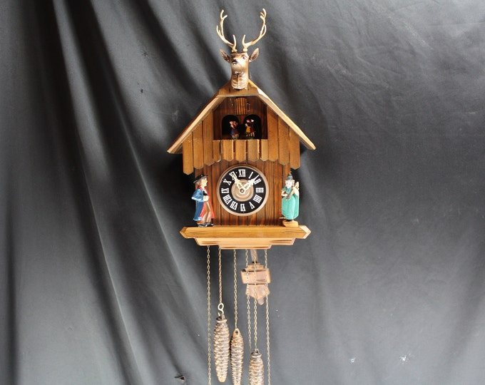 Vintage West Germany Black Forest ECULA Cuckoo Clock 3 Weight Movement Music Box and Dancers