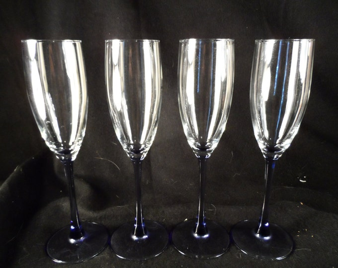 Purple Stem Champagne Flutes-Libby Champagne Flutes-Barware-Champagne Glasses-Home decor