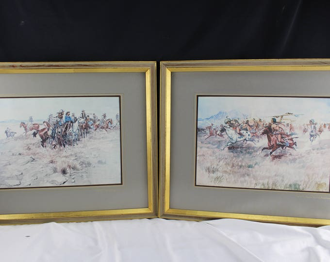 "Prints ""Fight Between Crees and Blackfeet"" & ""The Alarm"" Charles M. Russell"