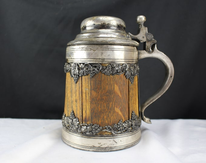 Antique Wood and Silver Beer Stein St Louis Silver Co-BPOE Elks Lodge