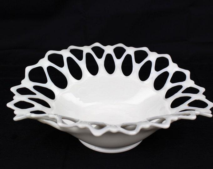 Westmoreland-Vintage Milk Glass-Lace Rim Centerpiece Bowl