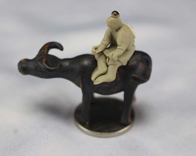 Vintage Mudman on Ox Chinese Pottery Miniature Figurines