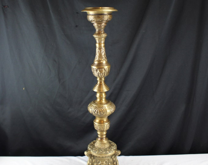 "Antique Solid Brass Candle Holder Castilian Import 24"" Tall Ornate Pillar Candle Holder"