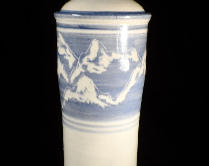Pottery Container-Tall Pasta Holder-Blue and White Creamic Kitchen Canister with Mountains-Kitchen decor