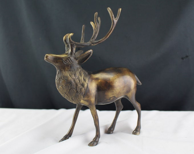 Vintage Animal Bronze Sculpture Figurine Stag Elk Deer Free Standing